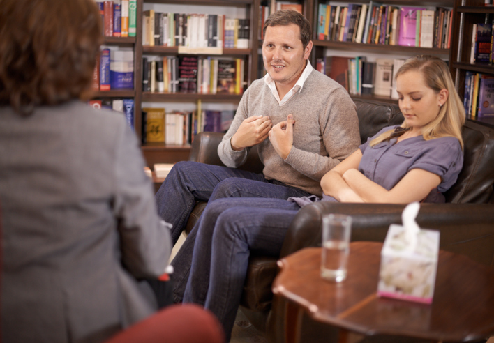 Attract new therapy clients to your counseling practice like this couple seen working with their mental health therapist.