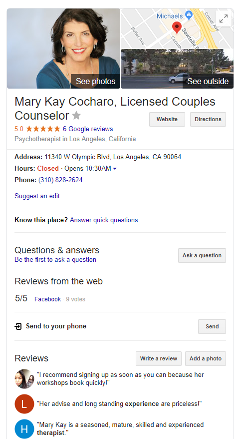 Google My Business profile for Mary Kay Cocharo, LMFT.