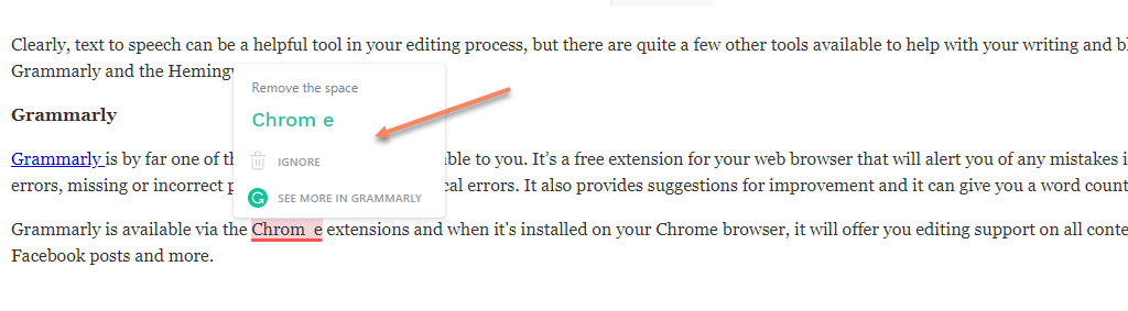 Grammarly editor- Chrome extension for editing content without an editor.