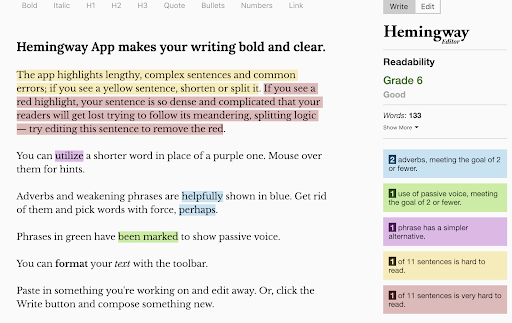 Hemingway App for editing blogs and other content without an editor.