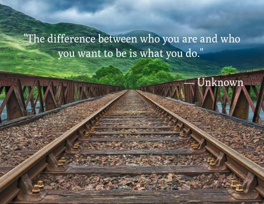 motivational quotes, train tracks