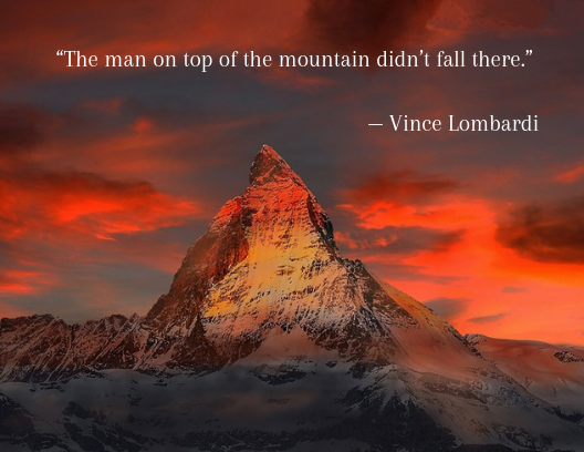 motivational quotes, mountain top at sunset