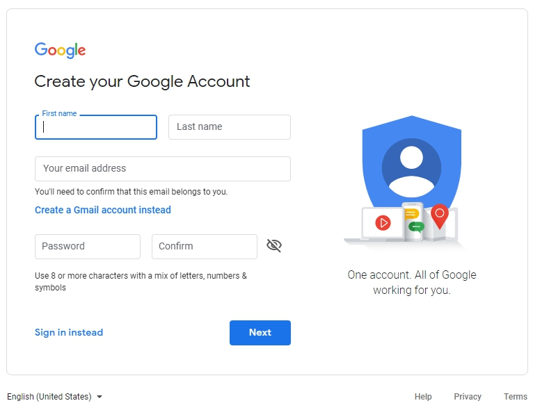 Step 1 for how to set up a gmail account.