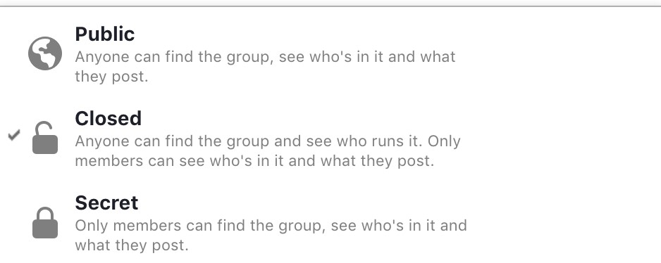 """Set your Facebook group to """"private""""."""