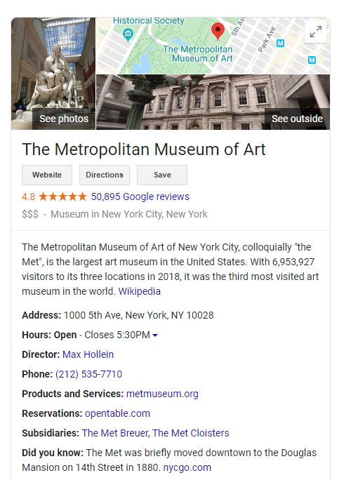 Google my business profile for Metropolitan Museum of Art